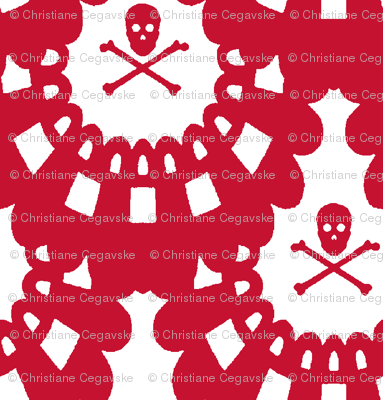 Red Skull and Crossbones Lace on White