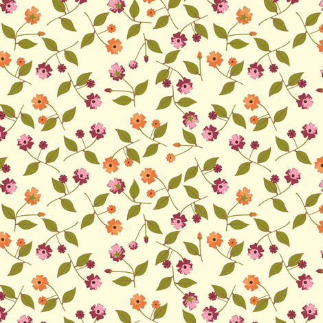 Flowers for the Table - Cream fabric by inscribed_here on Spoonflower - custom fabric