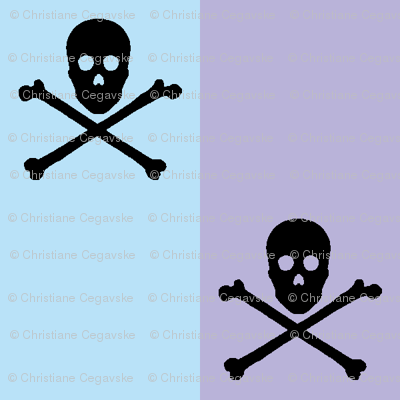 black skull and crossbones on blue and lavender stripe