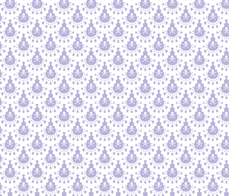 White Skull and Crossbones Lace White on Lavender fabric by littlemisscrow on Spoonflower - custom fabric