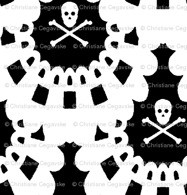 White Skull and Crossbones Lace White on Black