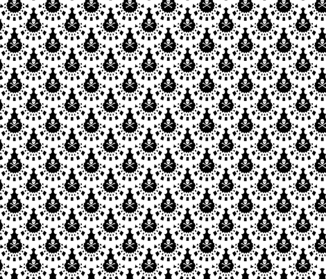 White Skull and Crossbones Lace White on Black fabric by littlemisscrow on Spoonflower - custom fabric