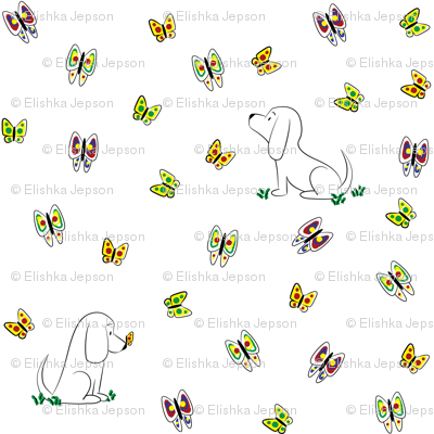 Doodle Bassets and Butterflies (Large)