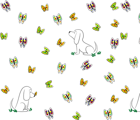 Doodle Bassets and Butterflies (Large) fabric by robyriker on Spoonflower - custom fabric