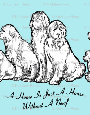 Newfoundland dog home vs house fabric or wallpaper