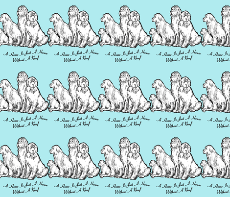 Newfoundland dog home vs house fabric or wallpaper fabric by dogdaze_ on Spoonflower - custom fabric
