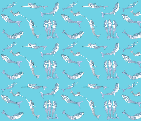 mermaid toile fabric by vonblohn on Spoonflower - custom fabric