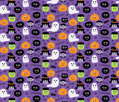 halloween cuties on purple fabric by misstiina on Spoonflower - custom fabric