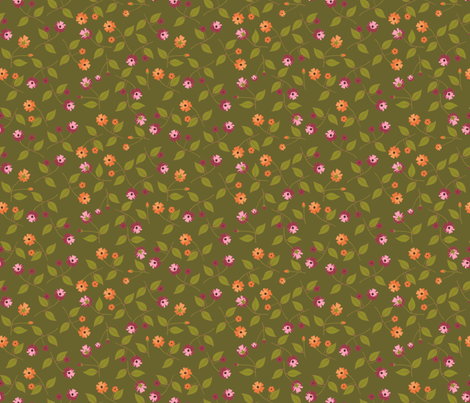 Flowers for the Table - Autumn Green fabric by inscribed_here on Spoonflower - custom fabric