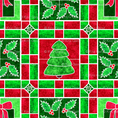 Marble Mosaic Christmas Tile Patchwork Fabric