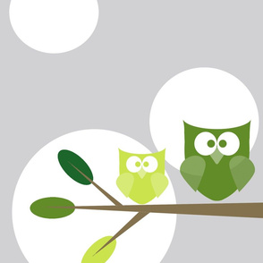 Green Tree Owls- Polka Dots