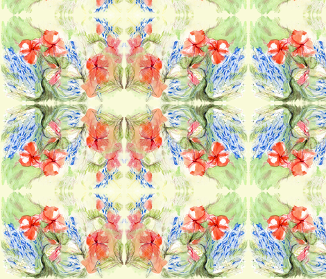 Balsam & Lobelia Flowers by Alexandra Cook fabric by linandara on Spoonflower - custom fabric