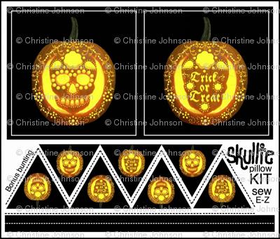 Skullie jack o' lantern pillow kit