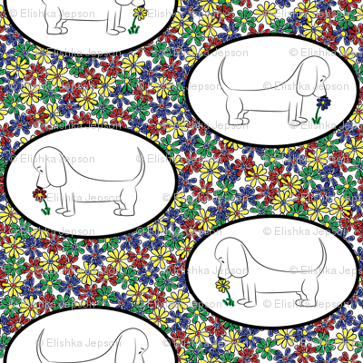 Doodle Bassets and Flowers - Tile