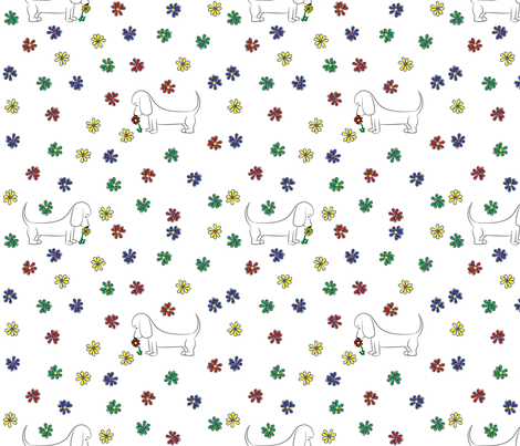 Doodle Bassets and Flowers fabric by robyriker on Spoonflower - custom fabric