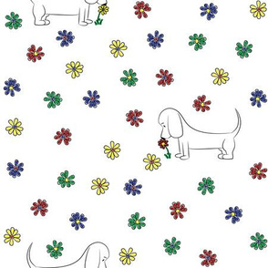 Doodle Bassets and Flowers
