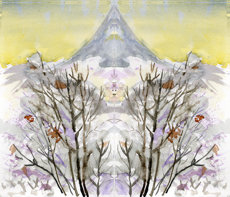 Winter Tree Watercolor fabric by arianagirl on Spoonflower - custom fabric