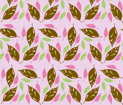 Brown Scattered Leaves - Pink Autumn version fabric by toni_elaine on Spoonflower - custom fabric