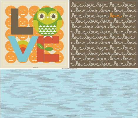 """PUNKIN LOVE PIILOW in """"MULBERRY"""" fabric by trcreative on Spoonflower - custom fabric"""
