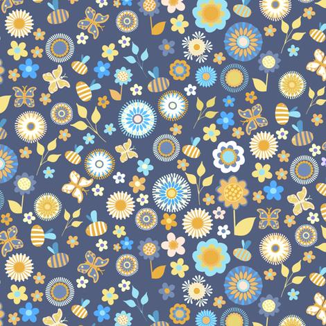 Ditsy Garden Blue fabric by kezia on Spoonflower - custom fabric