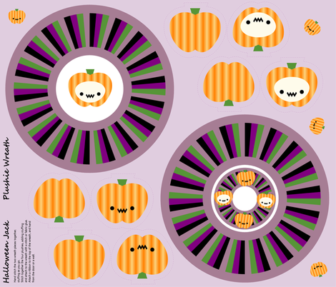 Halloween Jack Plushie Wreath fabric by giddystuff on Spoonflower - custom fabric