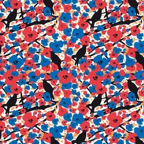 Flowers and birds.Black