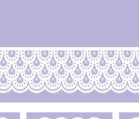 "White Skull and Crossbones Lace on Lavender 40 "" Table Cloth and 6 napkins fabric by littlemisscrow on Spoonflower - custom fabric"