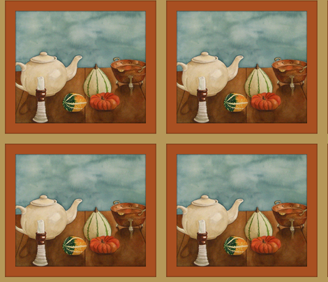 Autumn Table copper frame fabric by painter13 on Spoonflower - custom fabric