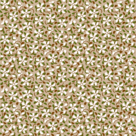 Flood_of_Flowers_(zoom please)_offset_shadow_white,  brown 4_f_2__A4_-ch-ch-ch fabric by khowardquilts on Spoonflower - custom fabric