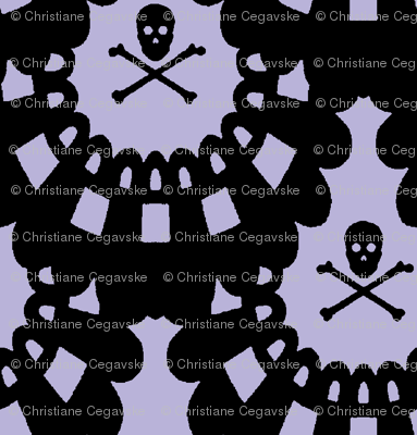 Black Skull and Crossbones Lace on Lavender