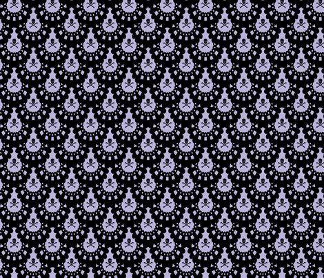 Black Skull and Crossbones Lace on Lavender fabric by littlemisscrow on Spoonflower - custom fabric