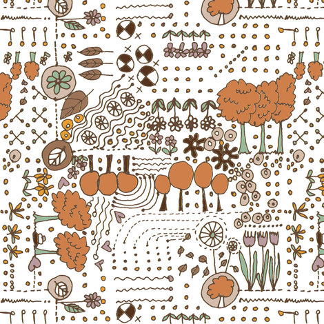 Ditsy Garden - brown fabric by wiccked on Spoonflower - custom fabric