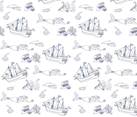 mermaid pattern fabric by vonblohn on Spoonflower - custom fabric