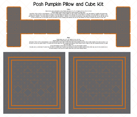 Posh Pumpkin Pillow and Cube Kit fabric by modgeek on Spoonflower - custom fabric