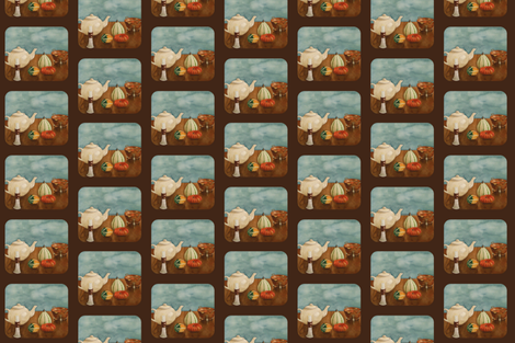 Autumn Table  espresso fabric by painter13 on Spoonflower - custom fabric