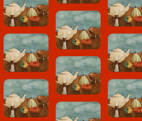 Autumn Table orange fabric by painter13 on Spoonflower - custom fabric