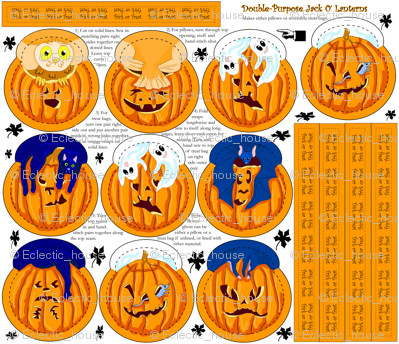 Jack O Lantern Pillow or  Treat Bags