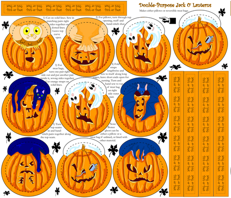 Jack O Lantern Pillow or  Treat Bags fabric by eclectic_house on Spoonflower - custom fabric