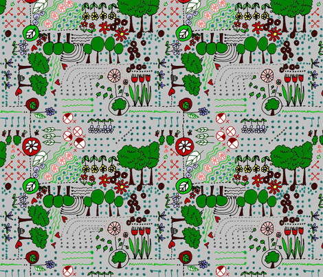 ditsy_garden_grey fabric by wiccked on Spoonflower - custom fabric