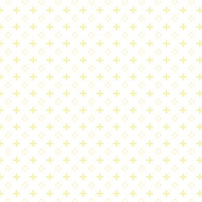 Ditsy print in a pale yellow on white