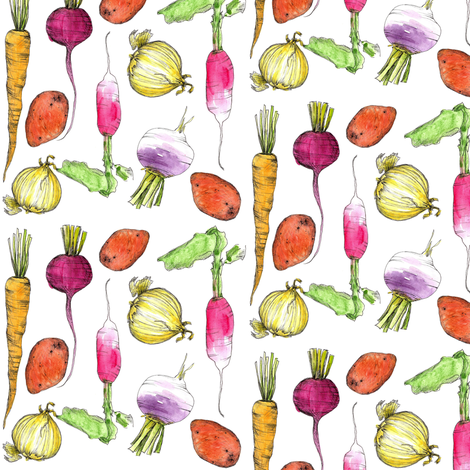 Root Vegetables fabric by countrygarden on Spoonflower - custom fabric