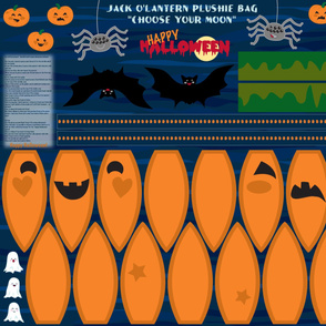 "Jack o'lantern plushie bag ""choose your moon"""
