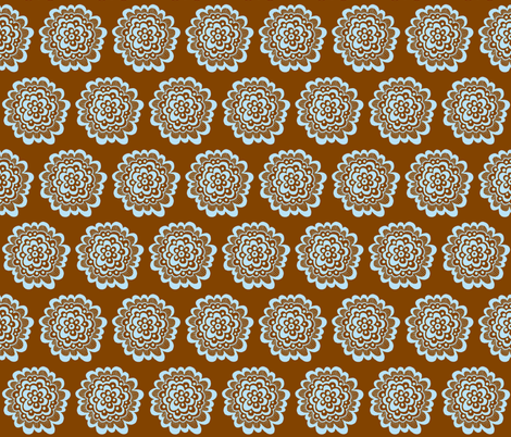 Flor - Blue on Brown fabric by toni_elaine on Spoonflower - custom fabric