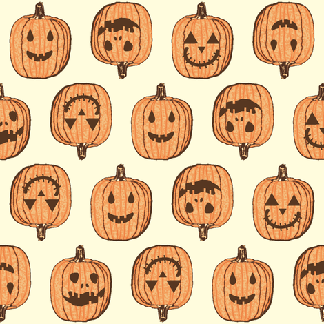 Happy Little Pumpkin Heads - Autumn Orange fabric by inscribed_here on Spoonflower - custom fabric