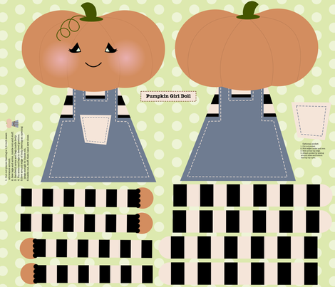 Pumpkin Girl Doll fabric by mayabella on Spoonflower - custom fabric