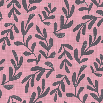 Soft Pink Linen Leaves