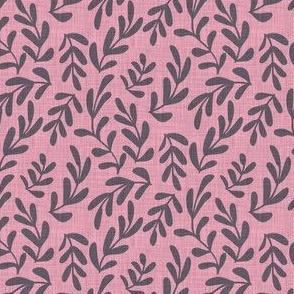 Soft Pink Linen Leaves