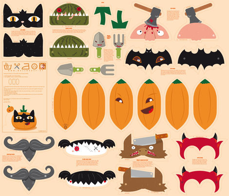 Dress up your Jack o'lantern  fabric by verycherry on Spoonflower - custom fabric