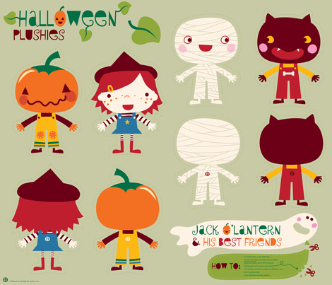 Jack o' lantern and his best friends fabric by bora on Spoonflower - custom fabric