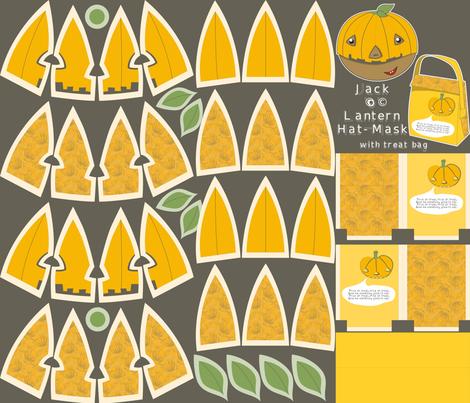 Jack'o'Lantern plushie hat-mask kit (with treat bag) fabric by majobv on Spoonflower - custom fabric